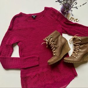 Lucky Brand Long Sleeve Knit and Lace Top